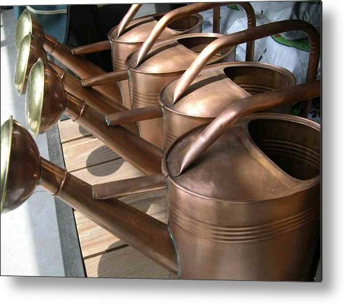 Gardening Metal Print featuring the photograph Copper Watering Cans by Rebecca Marona