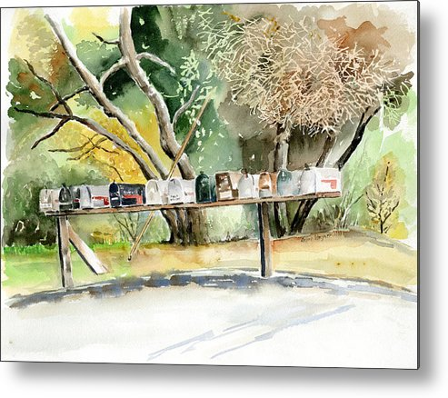 Mailboxes Metal Print featuring the painting Country Mailboxes by Suzanne Blender