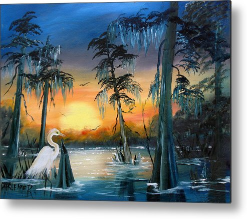 Swamp Metal Print featuring the painting Cypress Swamp by Darlene Green