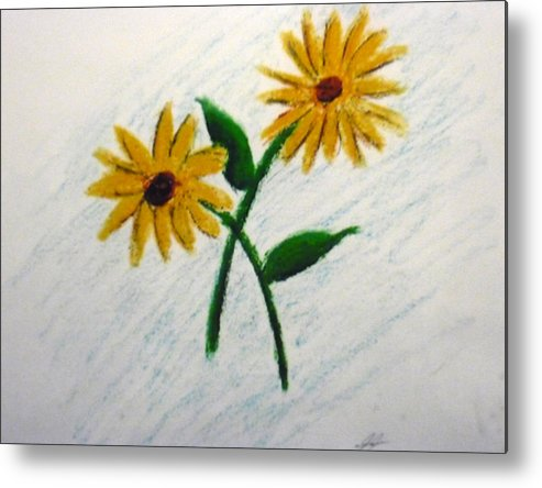 Flowers Metal Print featuring the painting Daisies by Christian Hidalgo
