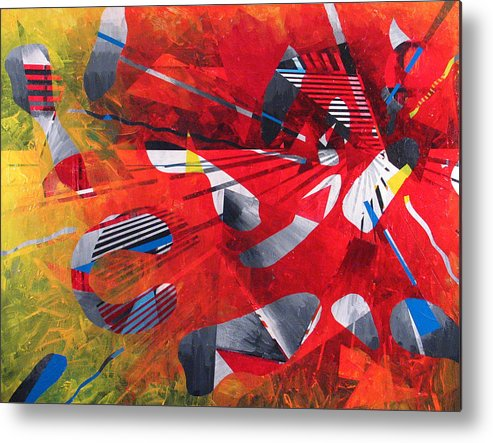 Red Metal Print featuring the painting Delta Medley II by Rollin Kocsis