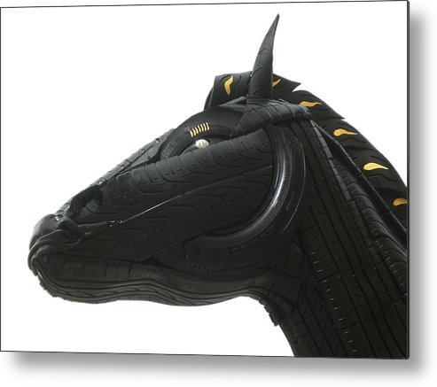 Horse Metal Print featuring the sculpture Detail - Tire Horse by Mo Siakkou-Flodin