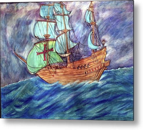 Seascape Metal Print featuring the painting Discovery by Marco Morales