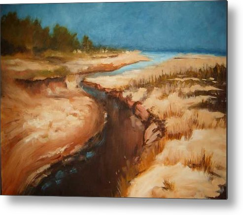River Bed Metal Print featuring the painting Dry river bed by Nellie Visser