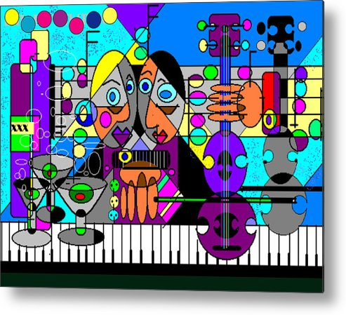 Music Metal Print featuring the digital art Duets by George Pasini