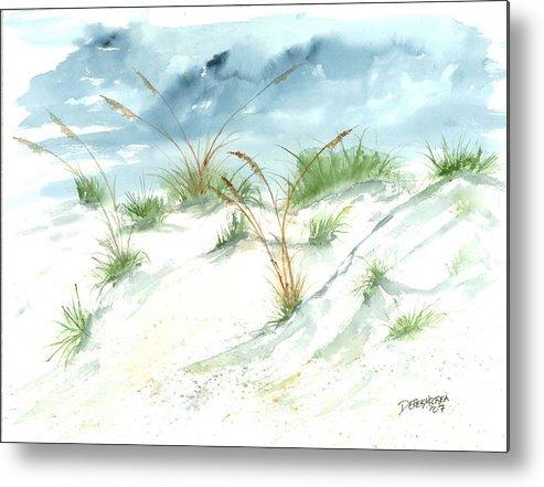 Beach Metal Print featuring the painting Dunes 3 seascape beach painting print by Derek Mccrea