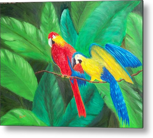 Birds Metal Print featuring the painting Duo by Sandy Hemmer