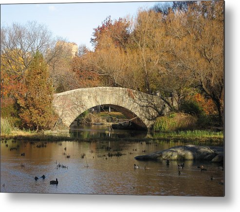 Bridge Metal Print featuring the photograph Fall in Central Park by Jennifer Sweet
