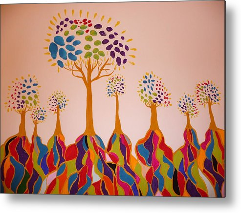 Trees Metal Print featuring the painting Fantasy Trees by Debra LaBar
