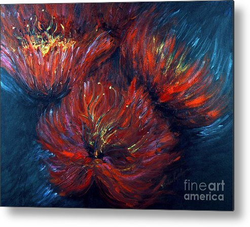 Abstract Metal Print featuring the painting Fellowship by Nadine Rippelmeyer