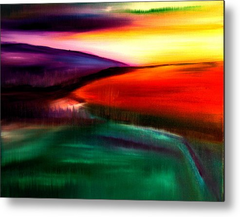 Landscape Painting Metal Print featuring the painting Fields by Viviana Puello Villa