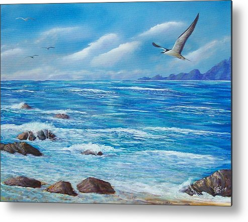 Seascape Metal Print featuring the painting Flight Seascape by Tony Rodriguez
