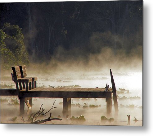 Water Metal Print featuring the photograph Fog on Lake Jeffords by Judy Waller