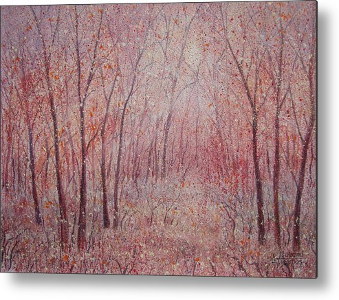 Landscape Metal Print featuring the painting Forest Stillness. by Leonard Holland