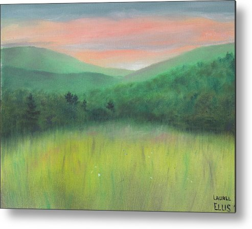 Landscape Metal Print featuring the painting Forgotten Meadow by Laurel Ellis