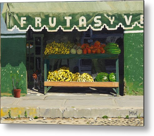 Market In Puerto Vallarta Mexico. Dog Added. Metal Print featuring the painting Frutas Y by Michael Ward
