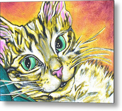 Portrait Metal Print featuring the painting Golden Tabby by Sarah Crumpler