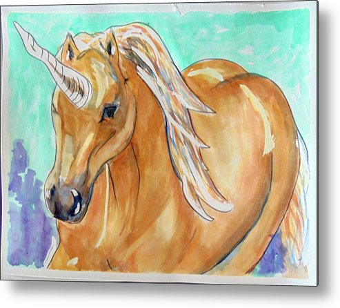 Art Metal Print featuring the painting Golden Unicorn by Loretta Nash