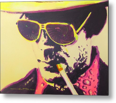 Hunter S. Thompson Metal Print featuring the painting Gonzo - Hunter S. Thompson by Eric Dee