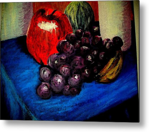 Still Life Grapes Apple Blue Purple Res Metal Print featuring the painting Grapes by Bethwyn Mills