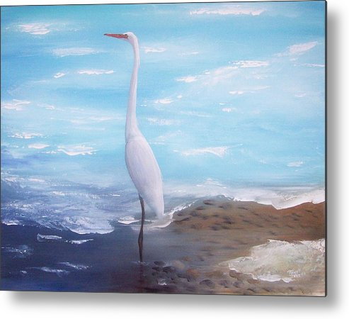Heron Metal Print featuring the painting Great White Heron by Tony Rodriguez