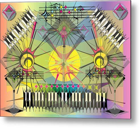 Music Metal Print featuring the digital art Hapyhour Keyboards by George Pasini