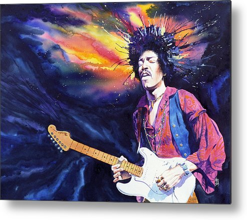 Jimi Hendrix Metal Print featuring the painting Hendrix by Ken Meyer jr