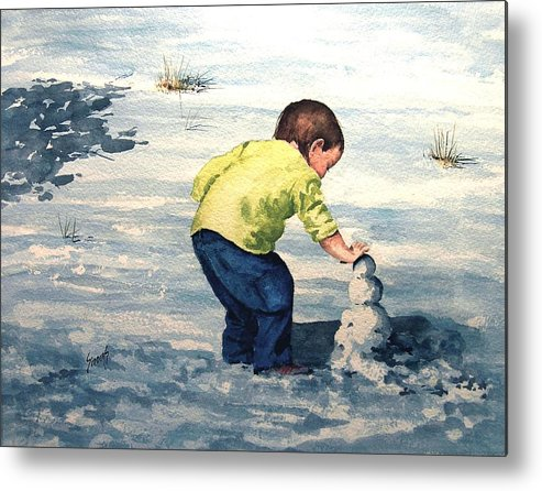Child Metal Print featuring the painting High Country Snow Girl by Sam Sidders