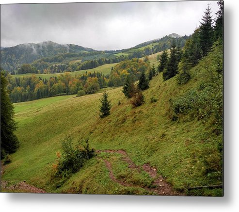 Pieniny Metal Print featuring the photograph Highlands landscape in Pieniny by Arletta Cwalina