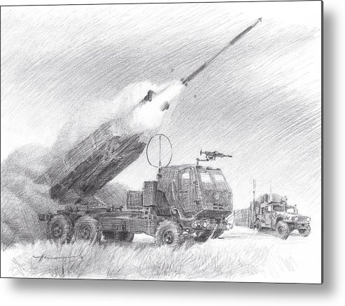 Www.miketheuer.com Himars Pencil Portrait Metal Print featuring the drawing HIMARS pencil portrait by Mike Theuer