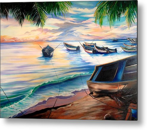 Ocean Painting Caribbean Painting Seascape Painting Beach Painting Fishing Boats Painting Sunset Painting Blue Palm Trees Fisherman Trinidad And Tobago Painting Tropical Painting Metal Print featuring the painting Home From The Sea by Karin Dawn Kelshall- Best