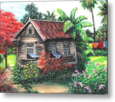 Caribbean House Metal Print featuring the painting Home Sweet Home by Karin Dawn Kelshall- Best