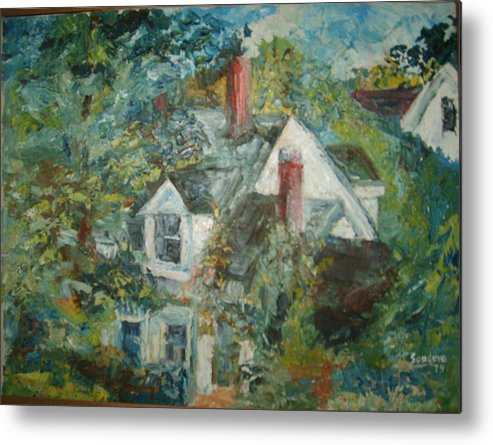 Landscape Trees House Metal Print featuring the painting House In Gorham by Joseph Sandora Jr