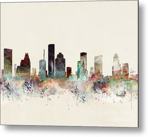 Houston Metal Print featuring the painting Houston Texas Skyline by Bri Buckley