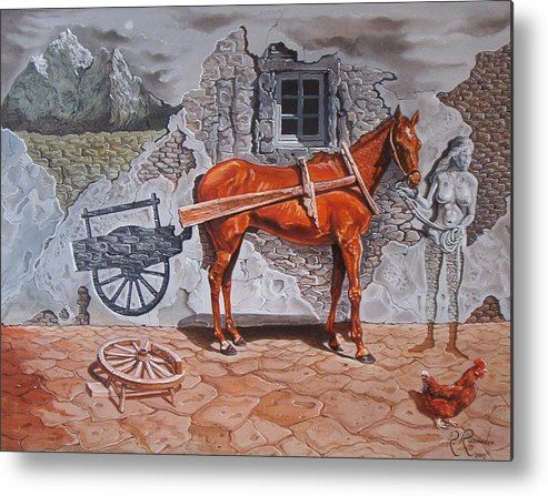 Surreal Metal Print featuring the painting Illusion of Presence by Ramaz Razmadze