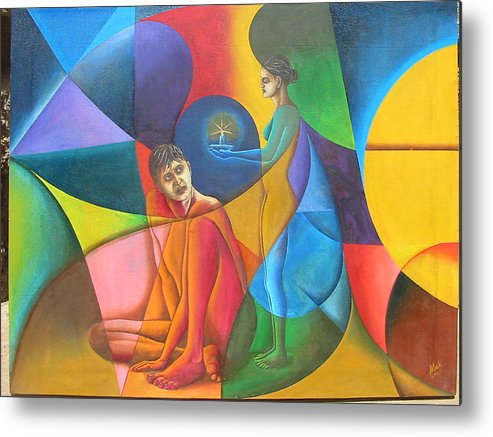 Man Metal Print featuring the painting In Search Of Life by Mak Art