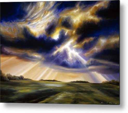 Sunrise; Sunset; Power; Glory; Cloudscape; Skyscape; Purple; Red; Blue; Stunning; Landscape; James C. Hill; James Christopher Hill; Jameshillgallery.com; Ocean; Lakes; Storms; Lightning; Rain; Rays; God Metal Print featuring the painting Iowa Storms by James Christopher Hill