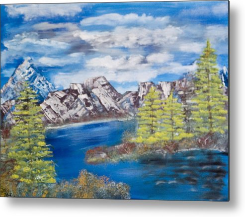 Wooded Landscape Metal Print featuring the painting Island Cove by Mikki Alhart