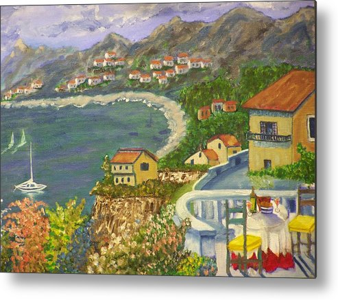 Landscape Metal Print featuring the painting Italian View by Charles Vaughn