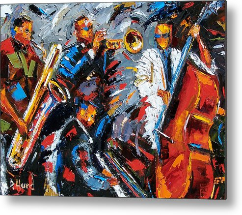 Jazz Metal Print featuring the painting Jazz Unit by Debra Hurd