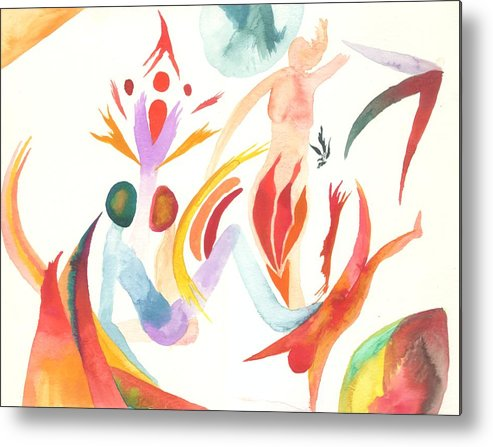 Watercolor Metal Print featuring the painting Joining In Union by Peter Shor