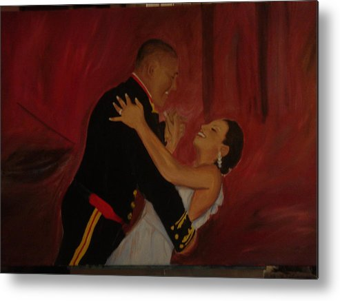 Marine Metal Print featuring the painting Just Married by Regina Walsh