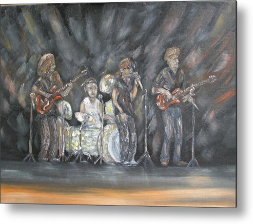 Rock Band Metal Print featuring the painting Keith Kyle Shawn and Chris by Carrie Mayotte