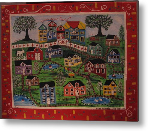 Landscape Metal Print featuring the painting Kingdom One- Cheninglevan Soaring by Mike Filippello