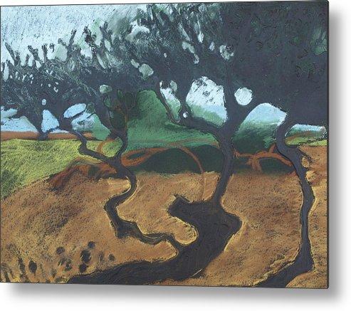 Contemporary Tree Landscape Metal Print featuring the drawing La Jolla I by Leah Tomaino