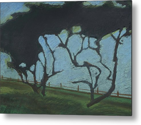 Contemporary Tree Landscape Metal Print featuring the mixed media La Jolla III by Leah Tomaino
