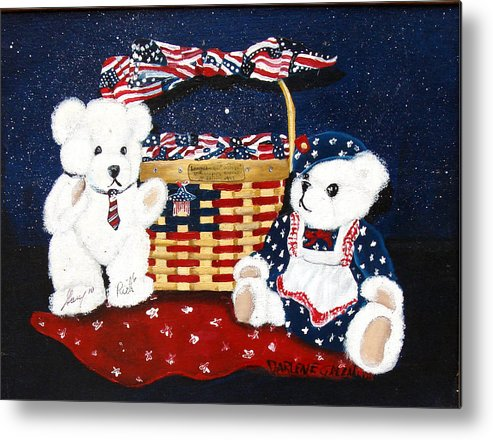 Teddy Bears Metal Print featuring the painting Let us celebrate by Darlene Green