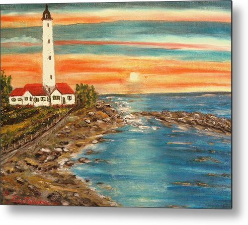 Lighthouse Metal Print featuring the painting Light house 1 by Kenneth LePoidevin