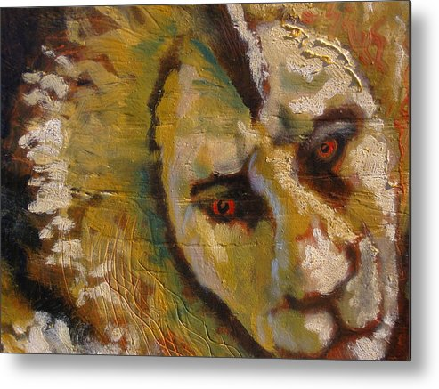Lion Metal Print featuring the painting Lion three by J Bauer