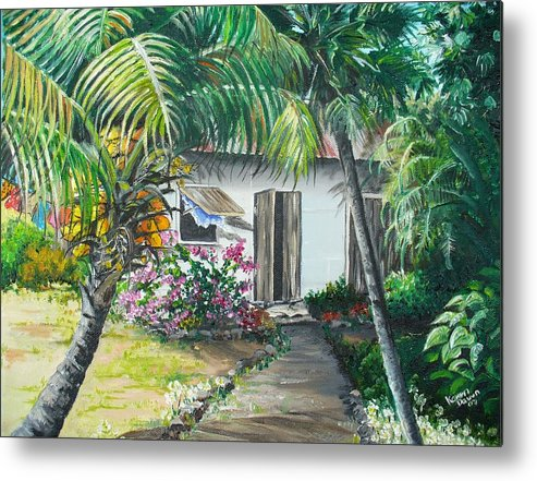 Caribbean Painting Typical Country House In Trinidad And The Islands With Coconut Tree Tropical Painting Metal Print featuring the painting Little West Indian House 2...sold by Karin Dawn Kelshall- Best